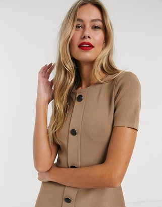 Morgan knitted button through skater dress in caramel