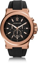 Michael Kors Dylan Rose Gold Tone Stainless Steel Case and Black Silicone Strap Men's Crono Watch