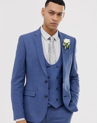 Asos Design DESIGN wedding super skinny suit jacket in micro texture in mid blue