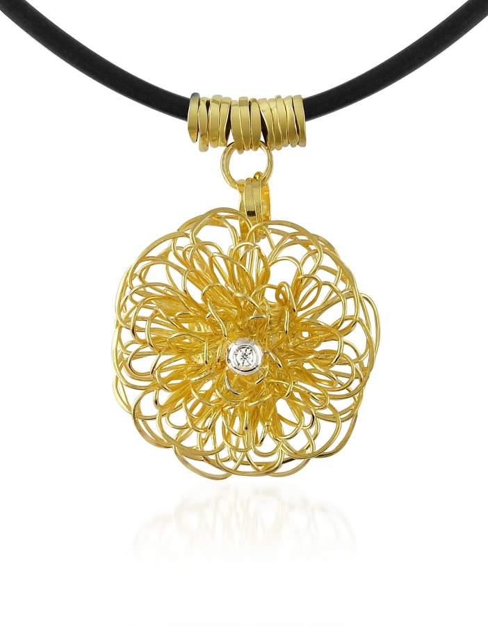 Orlando Orlandini Central Diamond 18K Yellow Gold Pendant Necklace