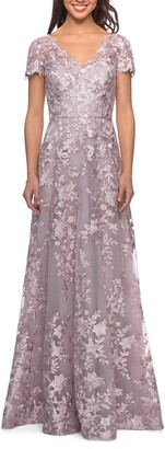 La Femme Embroidered Lace A-Line Gown