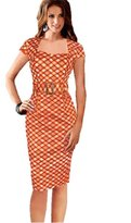 KingField Women Wear to Work Houndstooth Office Slim Plover Grid Pencil Dress with Belt