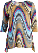 Glam Blue & Yellow Abstract Sidetail Top - Plus