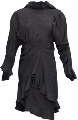 Balenciaga Ruffled Floral-jacquard Crepe Dress - Womens - Black