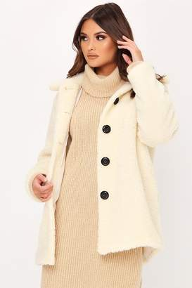 I SAW IT FIRST Cream Long Button Front Borg Coat