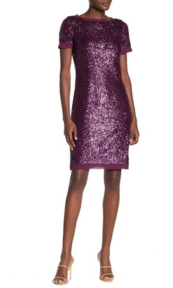 Marina Sequin Chiffon Trim Sheath Dress