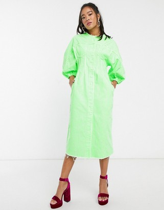 Asos DESIGN denim gingham midi dress with puff sleeves