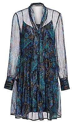 See by Chloe Women's Floral Tie-Neck Chiffon-Silk Long-Sleeve Mini Shirtdress