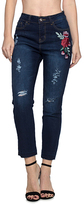 Be Girl Dark Wash Floral Embroidered Distressed Skinny Jeans - Plus Too