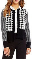Jones New York Mixed Houndstooth Check Ribbed Trim Open Front Cardigan