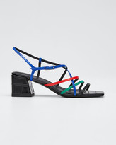 Sigerson Morrison Ellia Crisscross Colorblock Leather Strappy Sandals