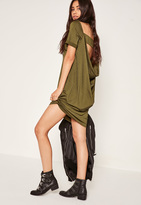 Missguided Cowl Back T-Shirt Dress Green