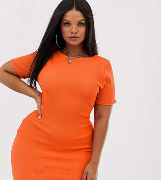 Rokoko Plus short sleeved bodycon crinkle mini dress-Orange