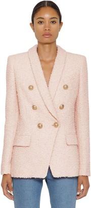 Balmain Double Breast Cotton Blend Tweed Jacket