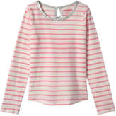 Joe Fresh Kid Girls' Stripe Long Sleeve Tee, Pink (Size XL)