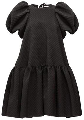 Cecilie Bahnsen Alexa Puff-sleeve Floral-matelasse Dress - Black
