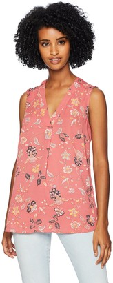 Adrianna Papell Women's Printed Pleat Front Sleeveless Blouse