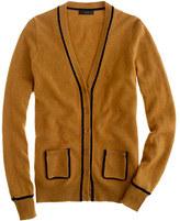 J.Crew Collection cashmere tipped boyfriend cardigan