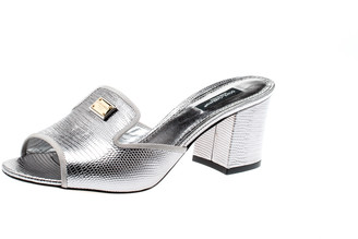Dolce & Gabbana Metallic Silver Embossed Lizard Leather Peep Toe Mules Size 38.5