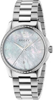 Gucci G-Timeless Round Stainless Steel Diamond & Mother-of-Pearl Bracelet Watch