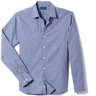 Tie Bar Solid Flannel Blue Casual Shirt