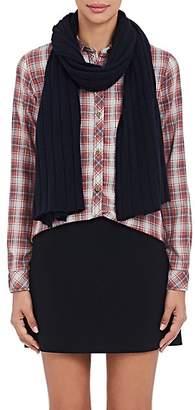 Barneys New York Women's Rib-Knit Cashmere-Silk Scarf - Navy