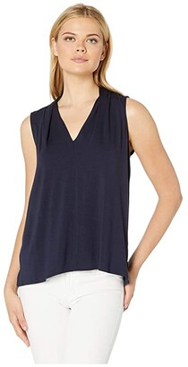 Vince Camuto Sleeveless V-Neck Top (Classic Navy) Women's Clothing