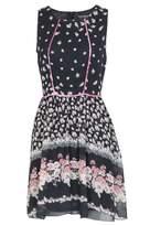 Select Fashion Fashion Womens Black Border Floral Saten Panel Drs - size 10