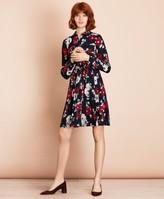 Brooks Brothers Floral-Print Crepe Shirt Dress