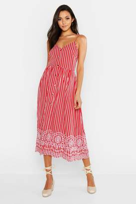 boohoo Tall Stripe Embroidered Hem Midi Dress