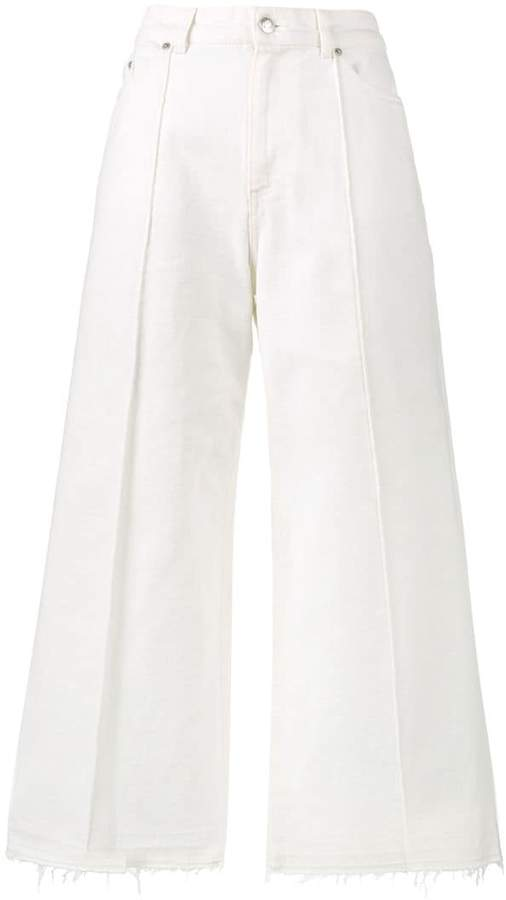 Alexander McQueen White high waisted culotte jeans