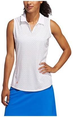 adidas Ultimate365 Printed Polo Shirt (White/Glory Blue) Women's Clothing