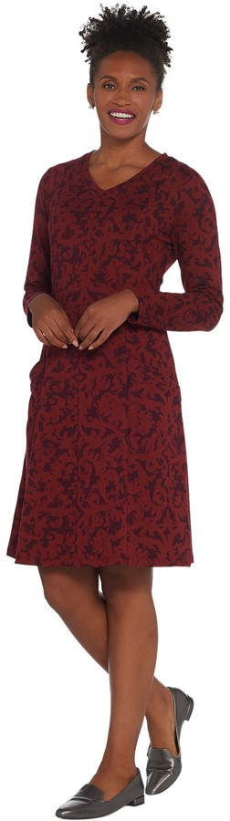 Denim & Co. Petite Printed Long-Sleeve Fit & Flare Dress