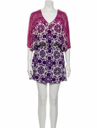 Nicole Miller Floral Print Mini Dress w/ Tags Purple