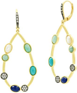 Freida Rothman Touch of Turqoise 3-Stone Pearl Teardrop Earrings