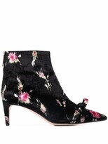 Thumbnail for your product : Red(V) Floral Velvet Bow-Detail Ankle Boots