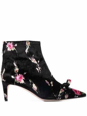 Red(V) Floral Velvet Bow-Detail Ankle Boots