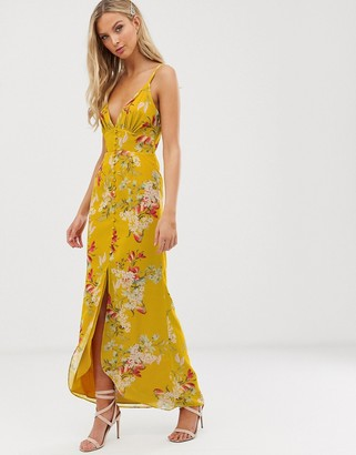 Hope & Ivy floral button front cami strap midi dress-Yellow