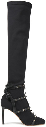 Valentino Rockstud Leather-trimmed Stretch-knit Over-the-knee Boots