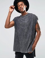 Asos Super Oversized T-Shirt With Extreme Side Splits And Acid Wash