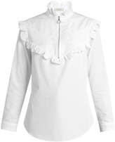 Nina Ricci High-neck ruffled cotton-poplin blouse
