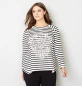Avenue Embellished Striped Shakrbite Sweatshirt