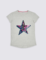 Marks and Spencer Cotton Rich Star Sequins Top (3-14 Years)