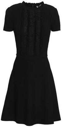 Valentino Lace-paneled Knitted Mini Dress