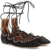 Isabel Marant Leo embellished suede lace-up ballerinas