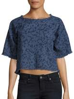 Calvin Klein Jeans Frayed Cotton Crop Top