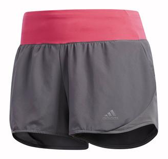 adidas Womens Run It 3in Shorts Grey / Pink XS