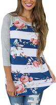 Annflat Women's Round Neck Floral Print Short Sleeve Blouse Color Block Tops Small