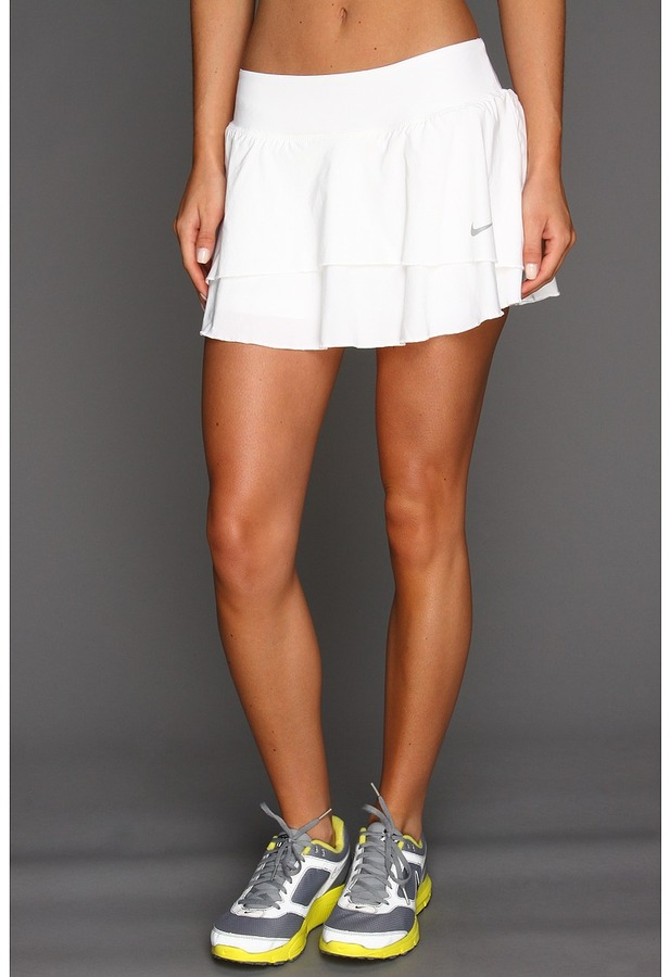 Nike Flouncy Woven Skirt (White/Matte Silver) - Apparel