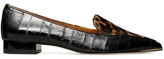 Tory Burch Lila Eel & Leopard-Print Calf Hair Loafers